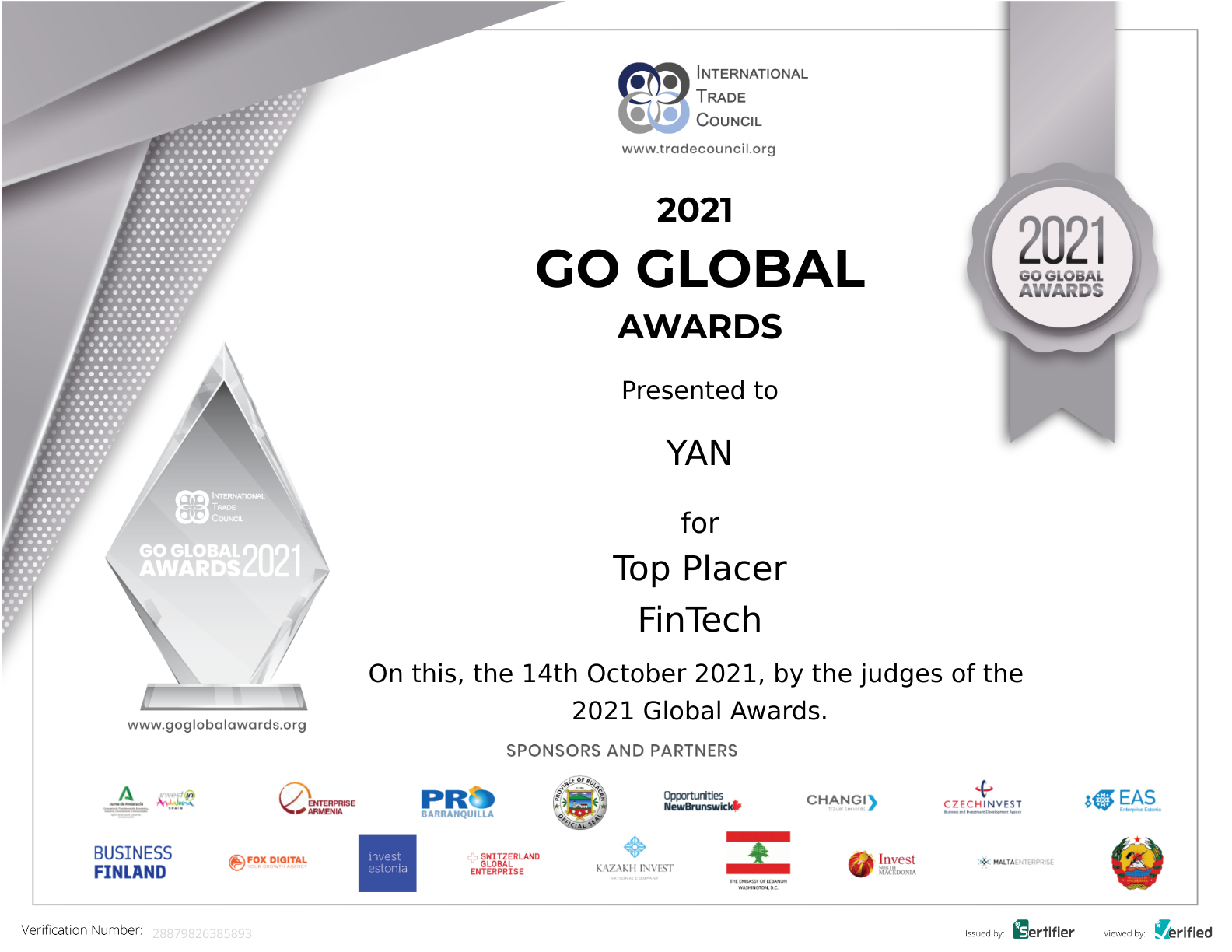 YAN's Go Global Award 2021